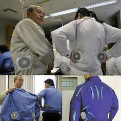 Japanese air conditioned clothing    the japanese have done it again. The japanese company, kuchofuku co. Ltd, has designed a line of air conditioned clothing with built-in fans, a product that proved in demand after the recent tsunami and earthquake. Businessmen who have no choice but to wear long-sleeved shirts in their hot workplaces have really shown interest in the air conditioned clothing. The least expensive piece of air conditioned clothing costs of us 130 dollars