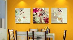 This breakfast trio is a cheerful, colorful addition to your kitchen or dining area. And it was taken by one of YOU! @Pomverte is a popular Instagram photographer. $50 Elementem Photography, series of 3, each 16x16 inches, printed on canvas. Food, kitchen art, breakfast, Instagram, artichoke, eggs