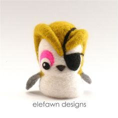 Needle felted 3D Pirate Owl Sculpture  mustard by ElefawnDesigns