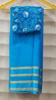 Georggete zari lines with designer blouses   Elegant Fashion Wear