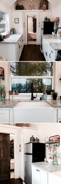 The kitchen includes granite countertops, white cabinets with dark handles, and a farm sink.