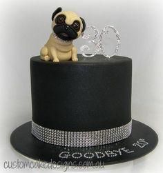 Pug 30th Cake by Custom Cake Designs