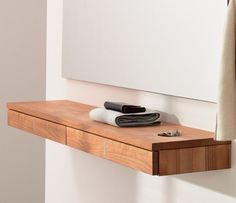 Luxury modern hallway console drawers - TEAM 7 from Wharfside Console Shelf, Hallway Console, Floating Drawer, Floating Shelves, Home Office Closet, Mirror Drawers, Modern Hallway, Loft Storage, Oak Shelves