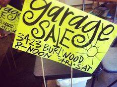 Host a garage sale giveaway. Advertise: it's a garage sale, but everything's free! Yard Sale Signs, Garage Sale Signs, For Sale Sign, Yard Sale Organization, Sale Signage, Rummage Sale, Cool Garages, Pet Gate, Garage House