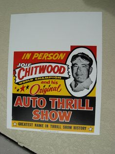 JOIE CHITWOOD THRILL SHOW 22×25 in Cardboard Vintage 1948 ad Poster, Autograph. Great for a man cave or office,
