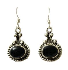 Oval Cabochon Black Onyx Studded Designed Hoop Earring On 925 Sterling Silver #Articulate #Hoop