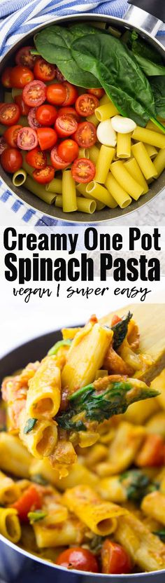 This vegan one pot spinach pasta is the perfect comfort food! One pot pasta always makes such a great vegan dinner! Find more vegan pasta recipe and vegetarian recipes in general at veganheaven.org!