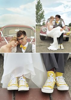 Yellow & Grey Wedding by Sarah Burton-converse shoes for the groom
