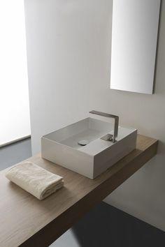 Countertop rectangular ceramic washbasin TEOREMA 2.0 | Countertop washbasin by Scarabeo Ceramiche