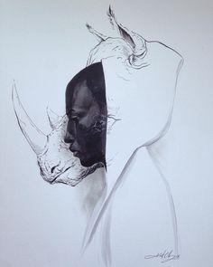 #ink #inktober #inktober2016 #drawing #KurtChangArt #art #illustration #lighting #surreal #rhino #hoodie #portrait