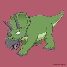 A fun and cute cartoon Triceratops