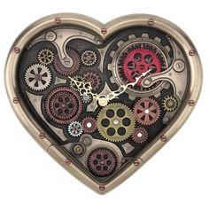 Bronze Steampunk Time of Love Heart Wall Clock - - Robots Steampunk, Steampunk Heart, Steampunk Clock, Steampunk Bedroom, Steampunk Design, Steampunk Diy, Gifs Ideas, Gear Clock, Skeleton Watches