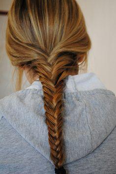 Wish I had long hair. I love fishtail braids. Messy Hairstyles, Pretty Hairstyles, Braided Updo, Fishtail Braids, Great Hair, Hair Dos, Gorgeous Hair, Her Hair, Hair Makeup