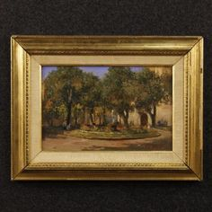 690€ Italian signed painting Square with flowers with fountain. Visit our website www.parino.it #antiques #antiquariato #painting #art #antiquities #antiquario #canvas #oilonmasonite #landscape #quadro #dipinto #arte #tela #decorative #interiordesign #homedecoration #antiqueshop #antiquestore #landscape