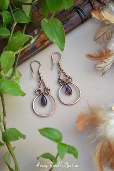 Amethyst and Copper Boho Dangle Earrings. Wire Wrapped Earrings