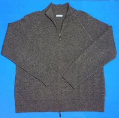 Soft Gray Cashmere Sweater by Malo. Made in Italy. Womens 44 (Medium). Cardigan with Full Zipper, Pockets, Mock Neck.