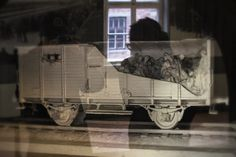Block 4. The model of a train car in which Jews were deported to Auschwitz.