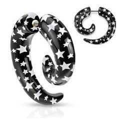 Uv Black White Star Printed Spiral Taper Earrings Pair