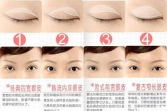 The right position to apply eyelid sticker on different eyes set