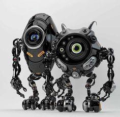"""Robotic friends from another planet""  by Ociacia #mech #mecha #futuristic #future #friends #partners #robot #bot #cg #cgi #3d #science #technology #art #artwork #concept #conceptart"