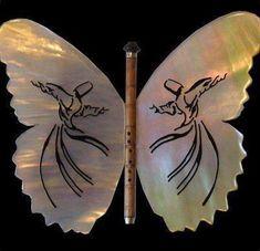 Butterfly by ney (Sufi) Whirling Dervish, Turkish Art, Islamic Art Calligraphy, Caligraphy, Spiritual Wisdom, Mystic, Moose Art, Spirituality, Drawings