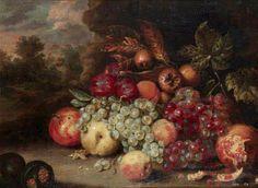 Attribué à Jan Pauwel GILLEMANS le vieux (1618-1675)   Nature morte aux raisins, pommes et grenades Cuivre 28 x 37cm