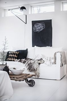 Living room, White couch, Black and white interior, Wooden table Home Living Room, Living Room Decor, Living Spaces, Room Inspiration, Interior Inspiration, Interior Ideas, Design Inspiration, Design Ideas, Home Theather