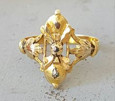 Antique Spanish Art Nouveau 18K Gold And Diamond Ring Size 9 Cocktail Ring Isabella Ring Isabelina Heart Shaped Ring Box FREE SHIPPING…
