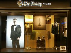 """welcome to """"The Beauty Tailor"""", pinned by Ton van der Veer Modegeschäft Design, Life Design, Interior Design, Fashion Retail Interior, Retail Windows, Shop Windows, Suit Stores, Clothing Displays, Tailor Shop"""