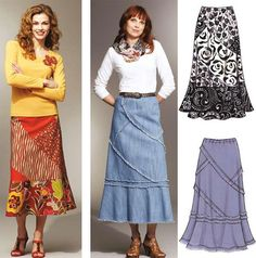 These pull-on skirts have six curved panels with no side seams, a flounce on bottom edge, and elastic in casing at the waist. Make the skirt using four dif