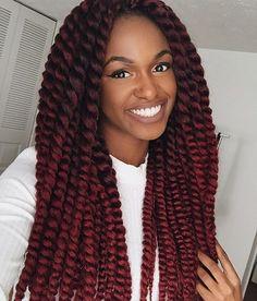 """naturalafricangoddess: """" Burgundy crochet mambo twists """""""