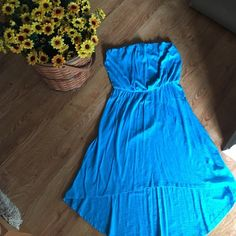 Express high-low summer dress. Aqua blue Like new condition - worn twice. Great fit and would look cute with flats or wedges Express Dresses High Low