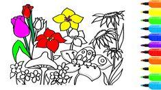 """""""Đồ Chơi Tô Màu"""", Vẽ Tranh và Tô Màu Vườn Hoa, Tranh Tô Màu Cho Bé, Bé T..."""