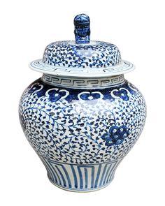 Blue and White Vine Pattern Ginger Jar , Ceramic - LOA, The Pink Pagoda