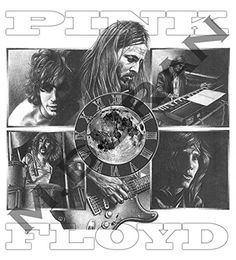 Pink Floyd Original Sketch Prints - Poster Size - Black & White - Print of Highly-Detailed, Handmade Drawing By Artist Mike Duran   http://citymoonart.com/pink-floyd-original-sketch-prints-poster-size-black-white-print-of-highly-detailed-handmade-drawing-by-artist-mike-duran/