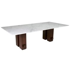 Brazilian Rosewood and White Carerra Marble Dining Table | From a unique collection of antique and modern dining room tables at http://www.1stdibs.com/furniture/tables/dining-room-tables/