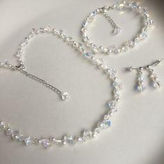 Black Swarovski necklace Sterling Silver by SheRocksGemjewellery