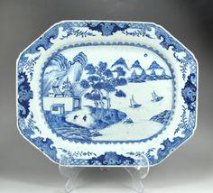 Platter with cobalt underglaze landscape decoration- China, mid-18th century