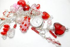 Purse Charm Watch/Red and Pink/Watch Charm by DarlenesGlassGarden