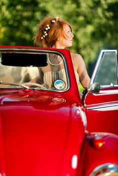 Beautiful contemporary portrait of teenager girl and vintage car in Bishop Burton