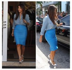 Kim Kardashian - Jean Button-Up & Blue Leather Skirt