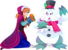 disney-pokemon-crossover-anna-frozen-e-Abomasnow-por-Krista Nicholson.
