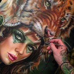 WANT A SHOUTOUT ?   CLICK LINK IN MY PROFILE !!!    Tag  #DRKYSELA   Repost from @drkturcotte   More layers on this tiger huntress pSinting!! Honor to paint this for the rad artist  @richiebon !! Still abit to go! #createx #airbrush #frostbackcollective @frostbackcollective #artcollective #artsanity #art #instagood via http://instagram.com/zbynekkysela