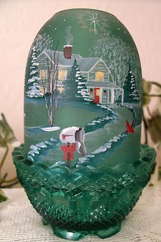 """Fenton Green Satin Glass """"Our Home Is Blessed"""" Fairy Lamp Light Ed Christmas Fairy Lights, Xmas Lights, Retro Christmas, Christmas Goodies, Fenton Lamps, Fenton Glassware, Fairy Lamp, Different Shades Of Green, Beautiful Fairies"""