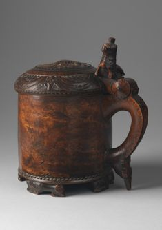 Ceremonial Lion Peg Tankard With Crowned Lion Finial and Lid Raised on Recumbent Lion Feet Richly Patinated Burr Birch Wood.