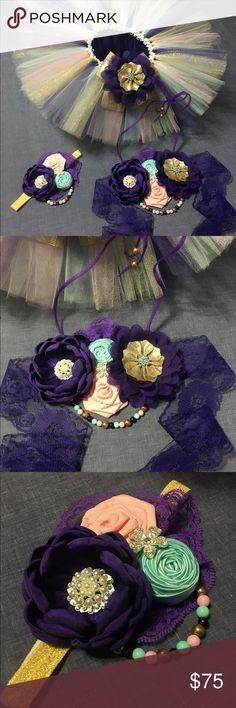 Set of tutú, top and headband, for baby girl . Accessories