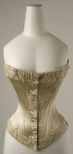 Corset Date: 1894 Culture: American Medium: silk Dimensions: Length at CB: 13 in. cm) Credit Line: Gift of Mrs. Edwin Sturtevant Steese, 1957 Accession Number: Laced back Vintage Corset, Vintage Underwear, Victorian Corset, Vintage Lingerie, Vintage Dresses, Vintage Outfits, 1890s Fashion, Victorian Fashion, Vintage Fashion
