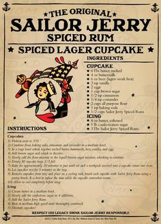 The original Sailor Jerry spiced rum is blended with the finest rums from the Caribbean & our recipe of natural spices. Visit Sailor Jerry to learn more. Rum Recipes, Cupcake Recipes, Cupcake Cakes, Cooking Recipes, Rum Cupcakes, Cooking Tips, Brewing Recipes, Rose Cupcake, Picnic Recipes