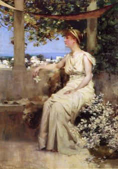 We can offer Francis Coates Jones On The Terrace Oil Painting on canvas, Framed art, Wall Art, Gallery Wrap and Stretched Canvas. No printing or . Tarot Celta, Pre Raphaelite Paintings, John William Godward, Impressionist Artists, Romantic Scenes, Children Images, Ancient Rome, French Artists, American Artists
