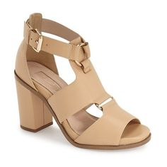 "Topshop 'Rumba' Block Heel Sandal, 3 3/4"" heel ($100) ❤ liked on Polyvore featuring shoes, sandals, nude, block-heel sandals, leather sandals, heeled sandals, leather ankle strap sandals and ankle strap sandals"
